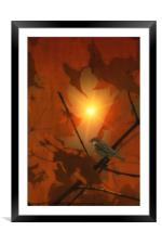 SPARROW IN THE LEAVES, Framed Mounted Print