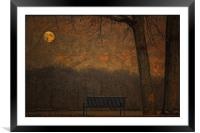 A PARK BENCH, Framed Mounted Print