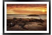 SEAGULLS AT THE BEACH, Framed Mounted Print