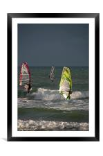 Windsurfers on a Stormy Day, Framed Mounted Print