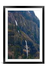 Columbian Gorge Waterfall, Framed Mounted Print