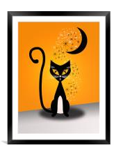 Halloween Cat Poster, Framed Mounted Print