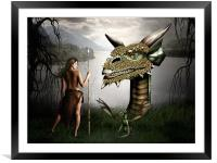 Babysitting Dragons, Framed Mounted Print