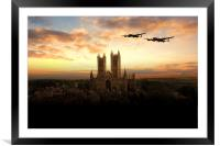 Lancs over Lincoln , Framed Mounted Print