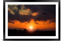 Sunset Fly By , Framed Mounted Print