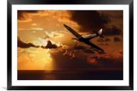 Spitfire Over The Water, Framed Mounted Print