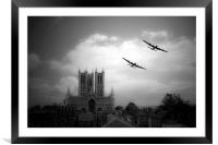 Lincolnshire Lancasters - Mono, Framed Mounted Print