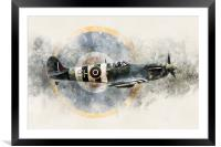 Spitfire AB910 - Painting, Framed Mounted Print