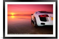 R8 on a beach - side view, Framed Mounted Print