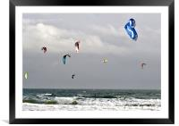 Kitesurfer Sails off Bournemouth Beach, Framed Mounted Print