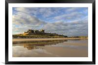 Bamburgh Castle Reflection, Framed Mounted Print