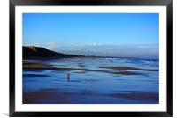Strolling on the Beach, Framed Mounted Print