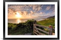 Rhossili Sunset, Framed Mounted Print