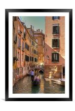 Gondola on the Rio Fuseri, Framed Mounted Print