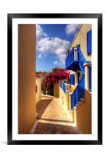 Blue paint and Bougainvillea, Framed Mounted Print