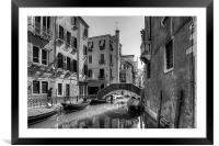 Strolling on the Fondamenta Frari - B&W, Framed Mounted Print