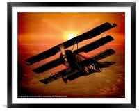 The Bloody Red Baron's Fokker at Sunset, Framed Mounted Print
