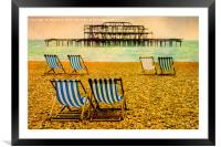 Brighton Beach Paintography, Framed Mounted Print