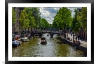 Amsterdam canal boats, Framed Mounted Print