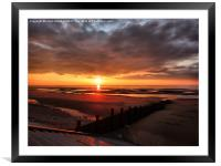 Sunset at Cleveleys Lancashire., Framed Mounted Print