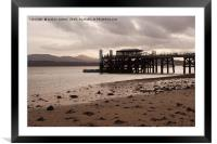 SAND SEA AND A PIER , Framed Mounted Print