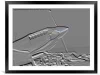 Spitfire Mk 1A aircraft embossed, Framed Mounted Print