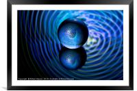 Abstract art Blue in the crystal ball, Framed Mounted Print