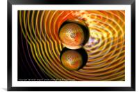 Abstract art Golden in the crystal ball, Framed Mounted Print