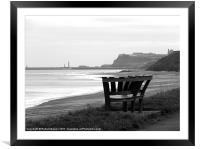 Bench at Sandsend,Whitby,Yorkshire., Framed Mounted Print