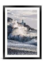 Mumbles Lighthouse Waves., Framed Mounted Print
