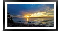 Surfers at Sunset, Framed Mounted Print