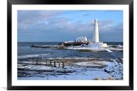 St Mary's Lighthouse and Posts, Winter, Framed Mounted Print