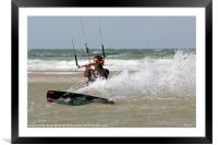 Kite surfing in France, Framed Mounted Print