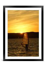Sunset Exmouth Bay Kite surfing., Framed Mounted Print