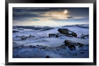Low winter sun over Higger Tor, Framed Mounted Print
