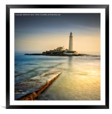 Over the causeway to St Mary's Lighthouse, Framed Mounted Print