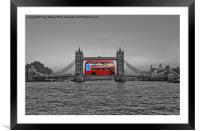 Huge London Bus Tower Bridge, Framed Mounted Print