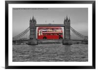 Red bus, black & white Tower Bridge, Framed Mounted Print
