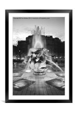 Trafalgar Square Fountain in Monochrome, Framed Mounted Print