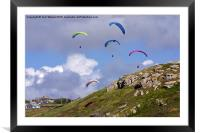Paragliding Over Sennen Cove , Framed Mounted Print