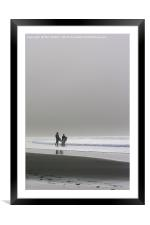 Surfers In The Mist, Framed Mounted Print