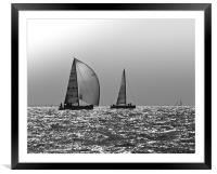 Yachts heading home, Solent, Framed Mounted Print