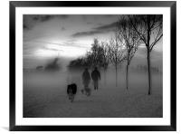 Dog walkers in the winter mist, Framed Mounted Print