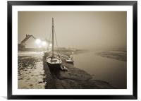 Boat at quay in fog, Framed Mounted Print