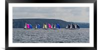 Open 5.70s racing downwind, Framed Mounted Print
