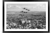 Red Arrows over Lincoln black and white version, Framed Mounted Print