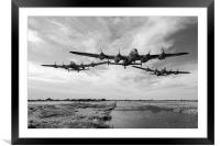 Dambusters practising low level flying B&W version, Framed Mounted Print