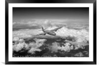Canberra over the Med black and white version, Framed Mounted Print