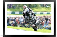 Josh Brookes - Take Off at Cadwell park 2011, Framed Mounted Print