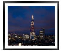 Night view of the Shard, City of London, Framed Mounted Print